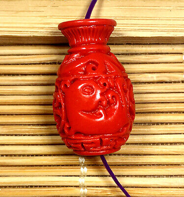 Cinnabar Type - 14x24mm Red cinnabar carved Vase Type Beads 5PCS