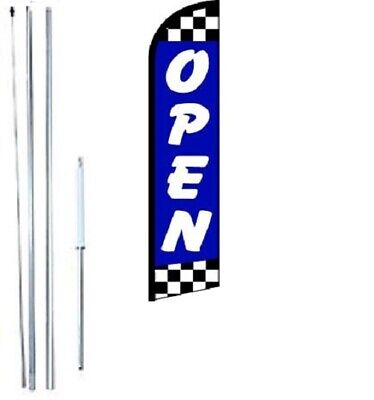 Open Blue Checkered Windless Swooper Flag With Complete Hybrid Pole Set