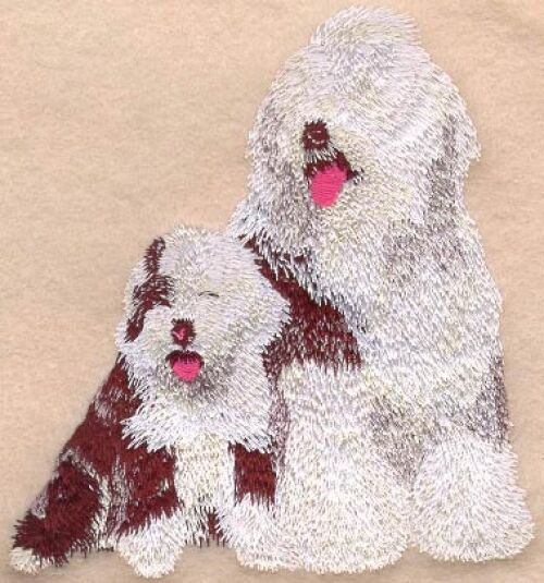 Embroidered Long-Sleeved T-Shirt - Old English Sheepdog I1046 Sizes S - XXL