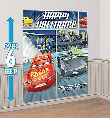 Disney CARS 3 Scene Setter HAPPY BIRTHDAY wall decoration  McQueen Jackson Cruz - Cars Birthday Decorations