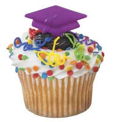 Purple Cake Decorations (24 Purple Graduation Cap Cupcake Picks Cake Toppers Hats)