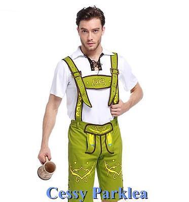 Mens Green White Bavarian Guy German Lederhosen Beer Oktoberfest Costume M-XL - White Guy Costume