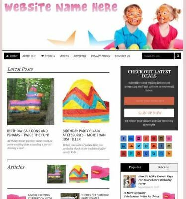 Party Supplies Store - Affiliate Website Business For Sale Domain Hosting