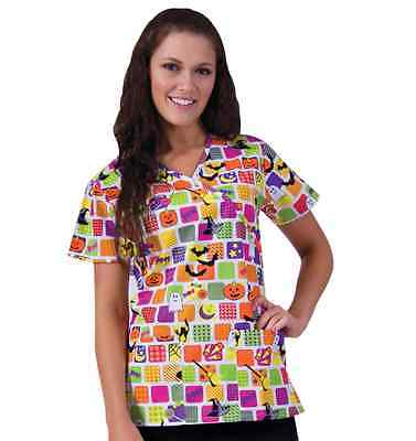 {XS} E. Libby Medical Uniform Scrub Top Halloween Print Mock Style - Halloween Print Scrubs