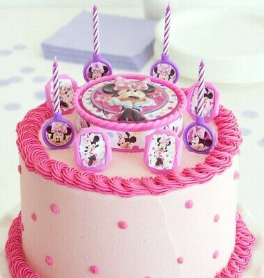 Minnie Mouse 17 piece Cake Decor Kit Candles, Candle holders, rings, cake topper](Minnie Cake Decorations)