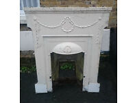 Cast Iron Fireplace In Good Painted Condition