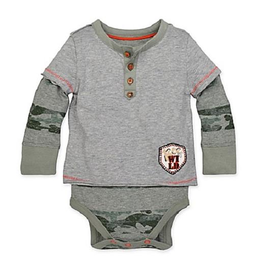 Burt's Bees Baby Henley Bodysuit in Grey/Camo 0-3 Months