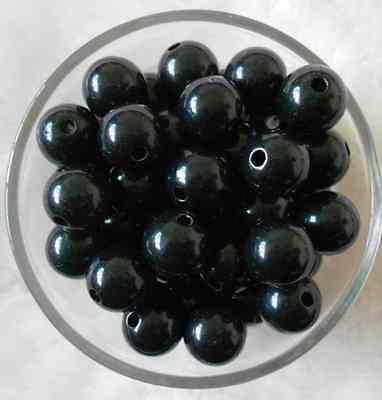 50Pcs 10mm Black Acrylic Round Spacer Loose Beads DIY Craft