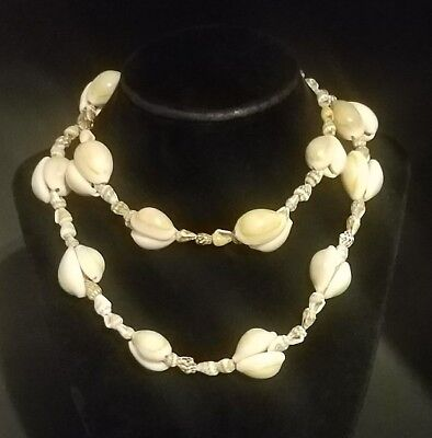 Vintage Dove & Cowrie Shell Pullover Strand Necklace