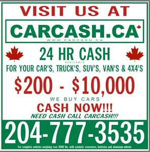 CarCash.ca $200-$10,000 CASH now for SCRAP USED JUNK OLD CARS