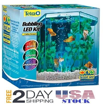 Tetra 29040 Hexagon Aquarium Kit with LED Bubbler 1‑Gallon FREE SHIPPING