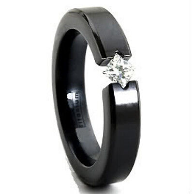 Black Plated TITANIUM TENSION RING with 4mm Square CZ in Special Setting, size 8 Black Titanium Tension Rings