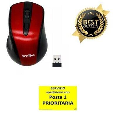 MOUSE WIFI OTTICO SENZA FILI WIRELESS USB PER NOTEBOOK PC COMPUTER 3200 DPI 2,4G