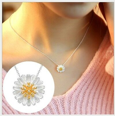 9mm Little Sterling Silver 925 Daisy Flower Necklace Pendant Girl Gift Box A11 - Little Girls Necklaces