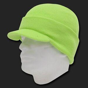 Melon-Green-Ski-Visor-Beanie-Hat-Cap-Knit-Skull-Winter-Jeep-Snowboard-Beanies