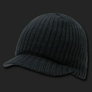 New BLACK Beanie Ribbed Knit CAMPUS Jeep Skull Ski CAP Knitted HAT with Visor