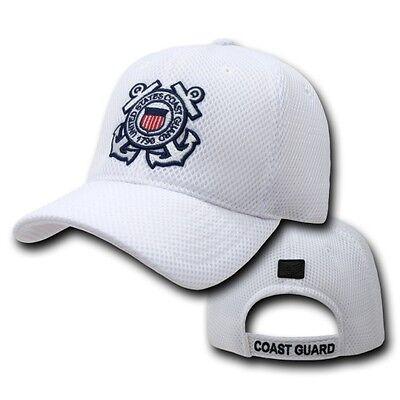 White United States US Coast Guard USCG Mesh Military Baseball Cap Hat Caps Hats Guard White Hat