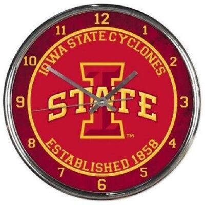 - NCAA - Iowa State Cyclones - New Chrome Round Wall Clock  12 Inches Diameter