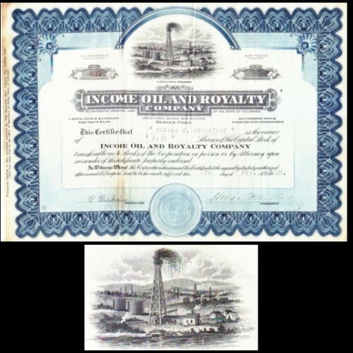 Income Oil and Royalty Company CO 1928 Stock Certificate