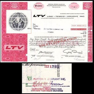 Broker Owned Stock Certificate  Ef Hutton   Co  Payee  Ltv Inc  Issuer