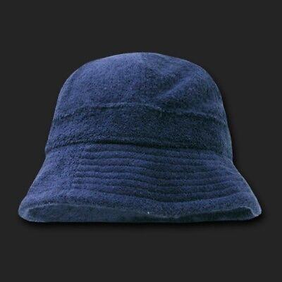 Navy Blue Terrycloth Floppy Style Bucket Sun Hat Hats (Blue Fedora Hats)