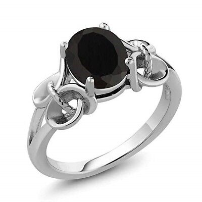 - Black Onyx 925 Sterling Silver Women's Ring 2.60 Ct Oval 9x7mm VALENTINE GIFTS