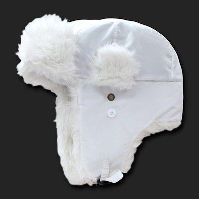 White Aviator Bomber Faux Fur Winter Ski Trooper Trapper Ear Flap Hat Cap S/M - White Aviator Hat