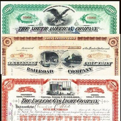 3 Component Stock Certificates   1896 Dow Jones Industrial Average