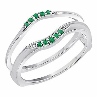 1/10Ct Emerald Round Anniversary Wedding Band Guard Wrap Enhancer Solitaire Ring - Emerald Solitaire Enhancer