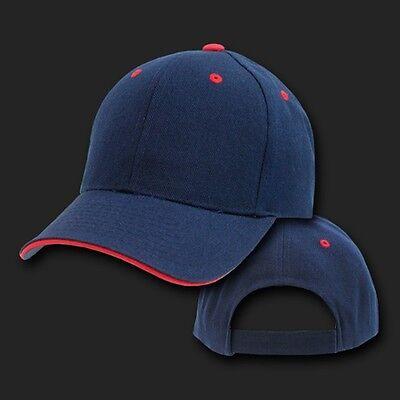 Navy Blue & Red Sandwich Visor Bill Blank Plain Baseball Ball Cap Hat Caps Hats (Sandwich Visor Baseball Cap)