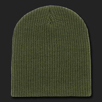 Olive Green Watch Beanie Hat Ski GI Military Winter Knit Cuffless Hats Beanies