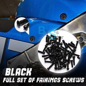 99PCS Black Full Fairing Bolt Kit Screws Fasteners Nuts KAWASAKI ZX-9R 94-97