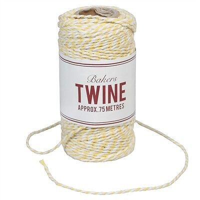 Garn Kordel Schnur Baumwolle Paketband Shabby Vintage gelb weiß 75m Post NEU