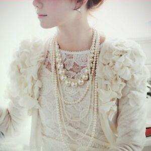 Fashion Multilayer Strand Chain White Pearl Beads Cluster Long Choker Necklace