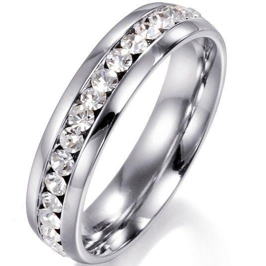 Men/Women CZ Couple Stainless Steel Wedding Ring Titanium Engagement Band 6-9 Fashion Jewelry