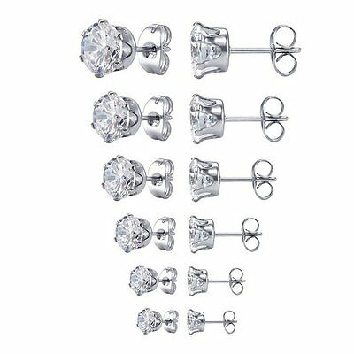 Surgical 316L Stainless Steel Stud Earrings Cubic Zircon Round Men Women 2PC