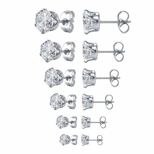 Earrings - Surgical 316L Stainless Steel Stud Earrings Cubic Zircon Round Men Women 2PC