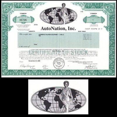 Autonation Inc Fl 2000 Stock Certificate