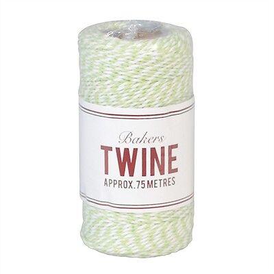 Garn Kordel Schnur Baumwolle Paketband Shabby Vintage grün weiß 75m Post NEU