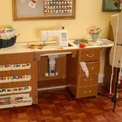 ARROW NORMA JEAN SEWING MACHINE CABINET WITH AIR LIFT OAK NO QUILT LEAF (Arrow Air Lift Sewing)