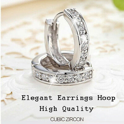 Jewellery - Charm 18k White Gold Filled CZ Clear Sapphire Stud Earrings Hoop Jewelry Gift