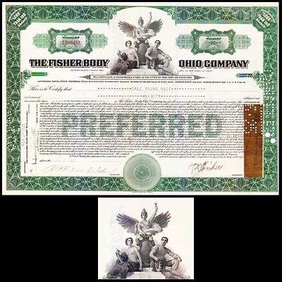 Fisher Body Ohio Company OH 1921 Stock Bond Certificate