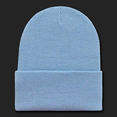 Light Blue Knit Beanie Hat Cap Skull Snowboard Winter Warm Ski Hats Cuff Beanies ()