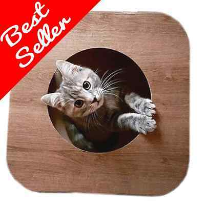 Cardboard Cat Tree Scratch Kitten House Hammock bed Toy Igloo Wood Effect Cube