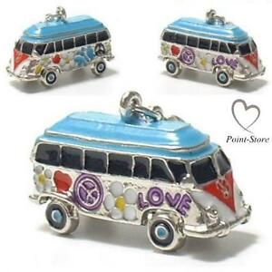 Flower Power Hippie Bus 3D Modell Charms Anhänger Bettelarmband Charm C 480