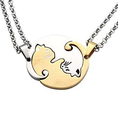 Stainless Steel Cat Necklaces Best Friend Jewelry Puzzle Silver Gold