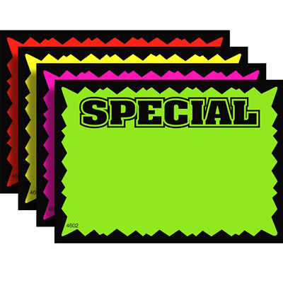 100 Special 3.5 X 5.5 Fluorescent Burst Neon Retail Sale Sign Card 25 Each Color
