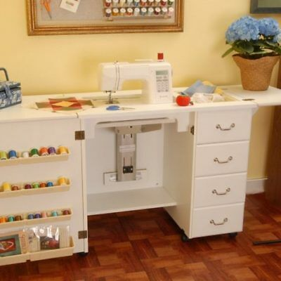 ARROW NORMA JEAN SEWING MACHINE CABINET WITH AIR LIFT WHITE NO QUILT LEAF (Arrow Air Lift Sewing)