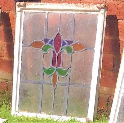 One Original 1930's Art Deco Leaded Stained Glass Window