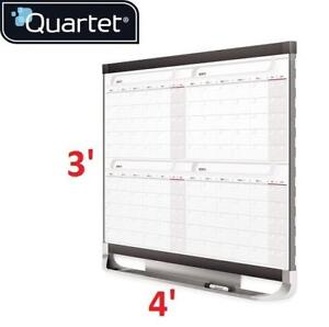 NEW QUARTET TOTAL-ERASE BOARD 4x3' 4MCP43P2 189235470 4 MONTH CALENDAR DRY ERASE WITH NOTES AREA ACCESSORY TRAY AND H...